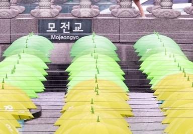 [고영권의 도시풍경]가을비에 초록우산