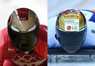 광고 뒤덮인 윤성빈의 아이언맨 헬멧