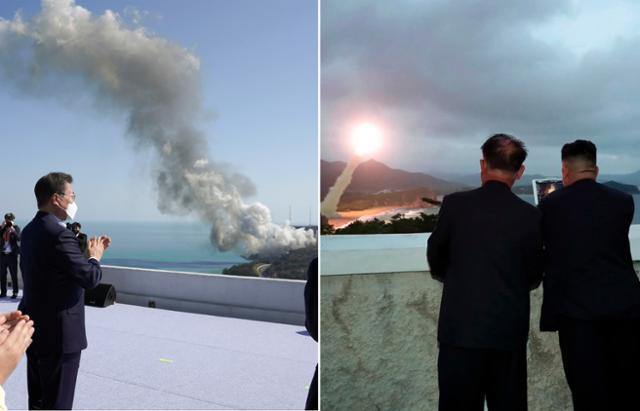 문 대통령은 북한 미사일 도발 당일 발사체 연소 시험을 지켜 봤다.