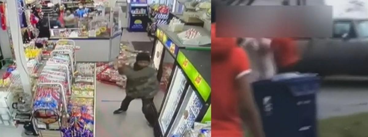 일련의 미국 아시아 범죄 … 쇠막대를 든 흑인 남성, 한국 편의점 습격